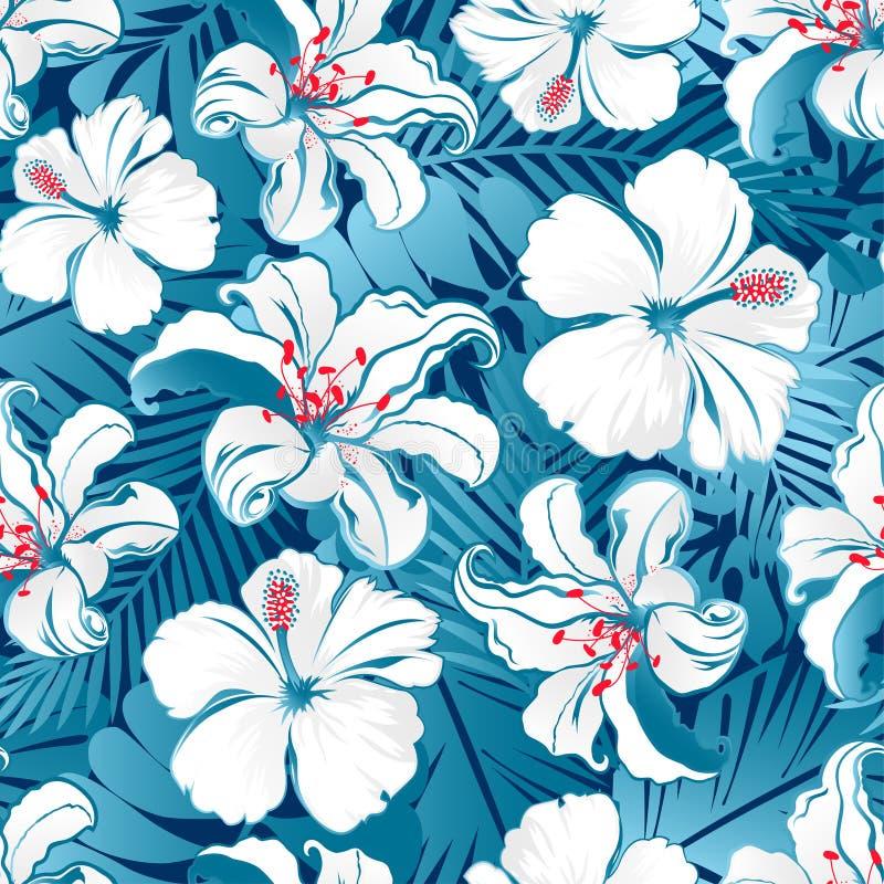 Witte tropische hibiscusbloemen. royalty-vrije illustratie