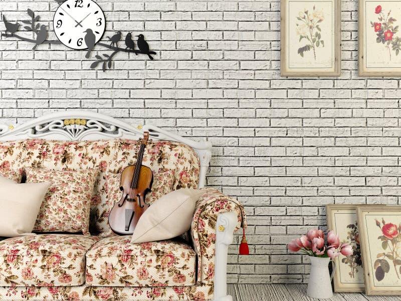 Witte uitstekende stijlwoonkamer met decoratie royalty-vrije stock foto