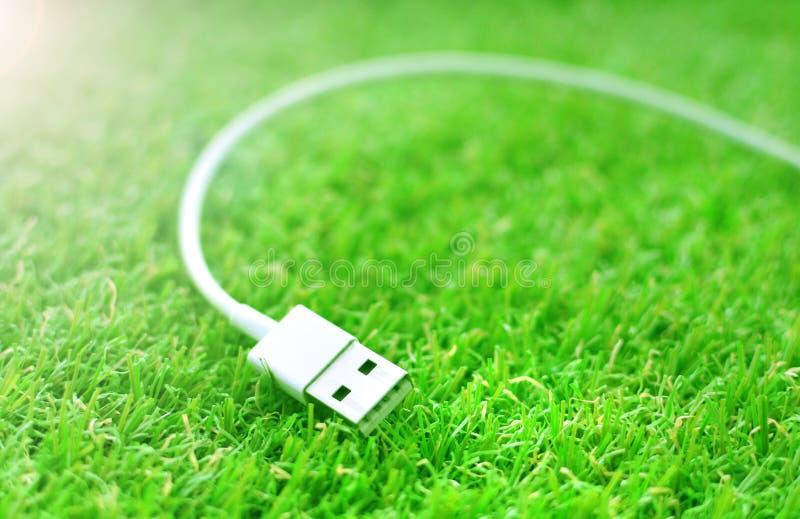 Witte usbkabel op een groen gras royalty-vrije stock foto's
