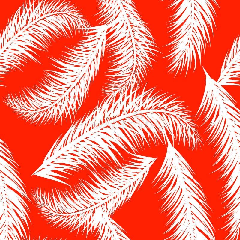 Witte vectorpalm treeson de koraalachtergrond Hand getrokken naadloos patroon Naadloze bladeren van de de zomer de tropische palm stock illustratie
