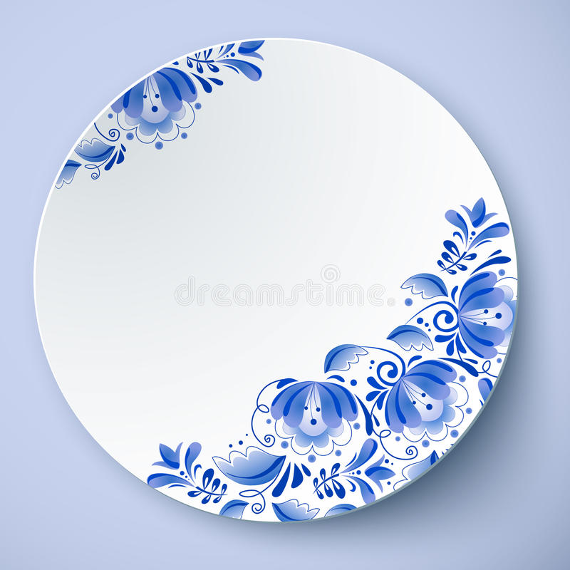 Witte vectorplaat met Russisch ornament vector illustratie