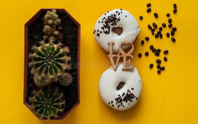 Witte verglaasde doughnut met zwarte chocoladesnoepjes met kleine cactussen Vlak leg Voedsel creatief concept In heldere kleuren stock foto