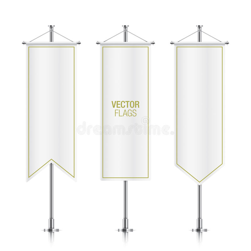 Witte verticale vector geïsoleerde bannervlaggen royalty-vrije illustratie