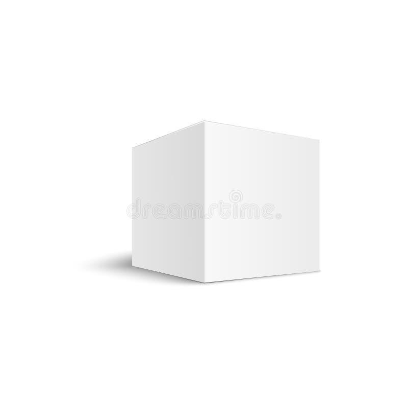 Witte vierkante doos, opgemaakt en verpakt voor karton of papiercrème stock illustratie