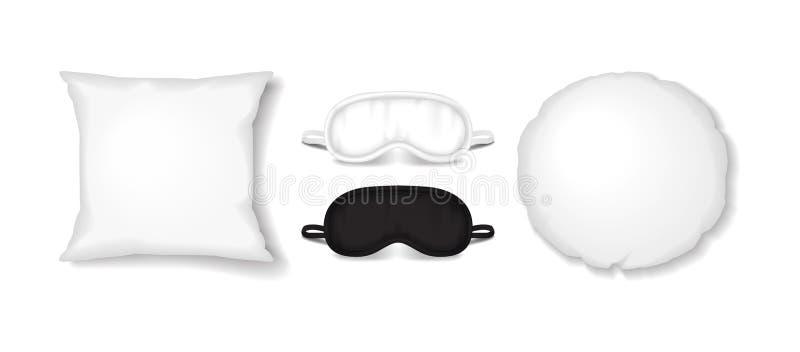 Witte vierkante en ronde hoofdkussens met het maskerreeks van de oogslaap Vector realistische slaaptoebehoren vector illustratie