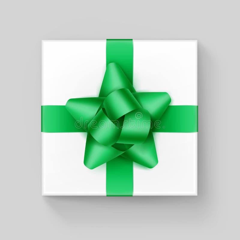 Witte Vierkante Giftdoos met Glanzend Groen Emerald Ribbon Bow Close op Hoogste mening over Achtergrond royalty-vrije illustratie