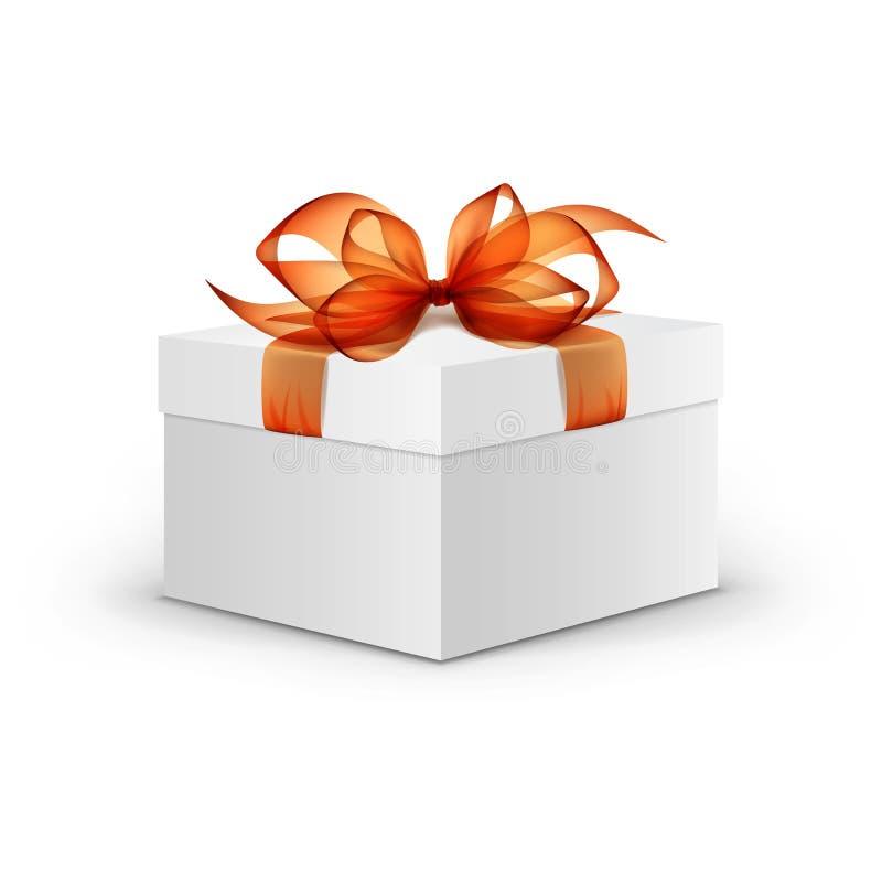 Witte Vierkante Giftdoos met Oranje Lint en Boog stock illustratie