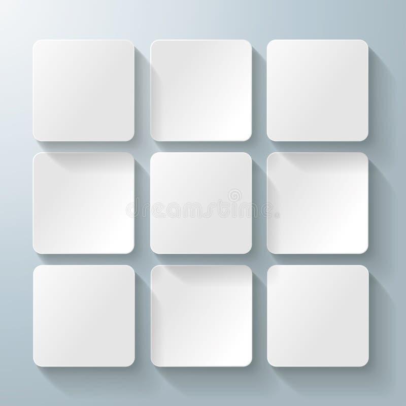 9 witte Vierkanten Desig royalty-vrije illustratie