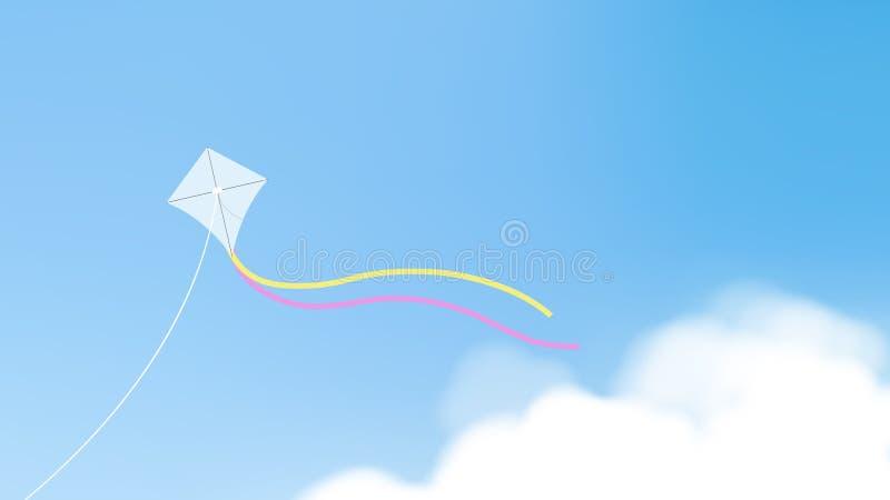 Witte vlieger met staarten die over blauwe hemel vliegen royalty-vrije illustratie