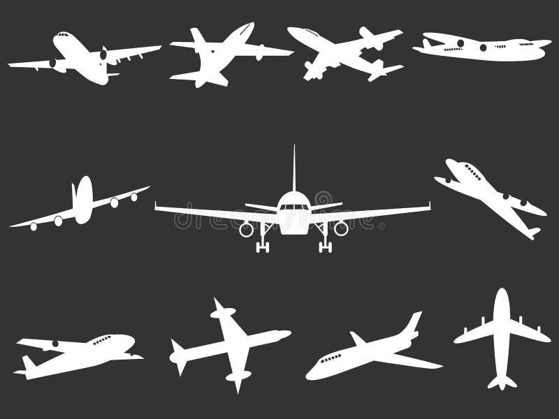 Witte Vliegtuigsilhouetten royalty-vrije illustratie