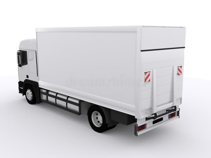 Witte vrachtwagen met aanhangwagen royalty-vrije illustratie