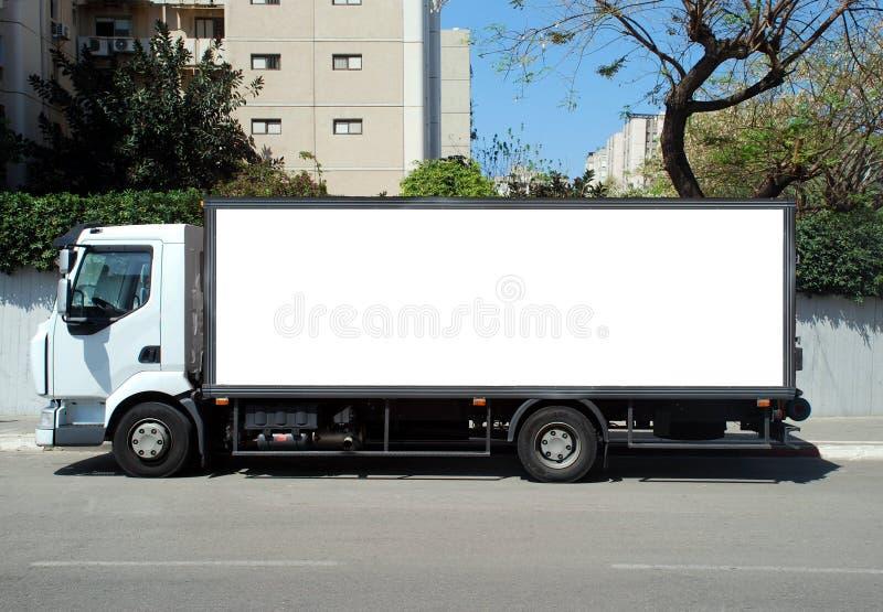 Witte Vrachtwagen met Leeg paneel stock foto