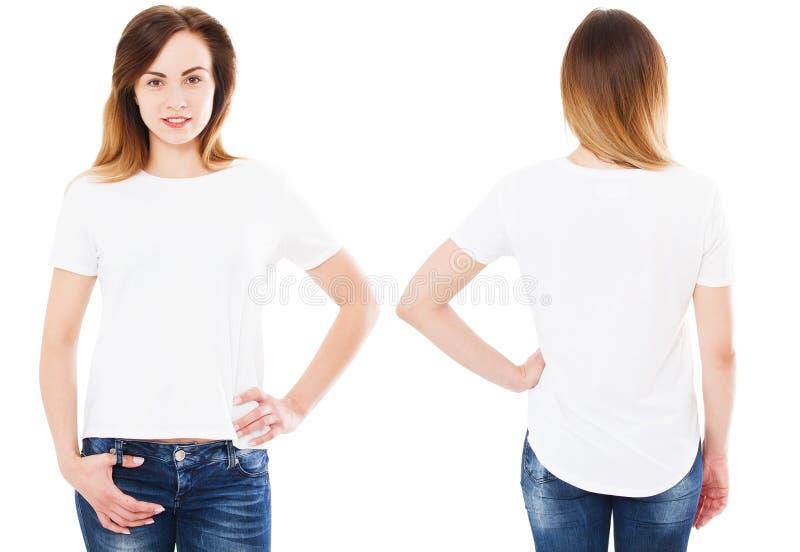 Witte vrouw in witte ge?soleerde t-shirtreeks, spatie, leeg embleem, stock foto's