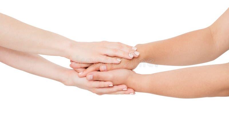 Witte vrouwenhanden die haar dichte die vriend troosten op witte achtergrond wordt geïsoleerd royalty-vrije stock foto