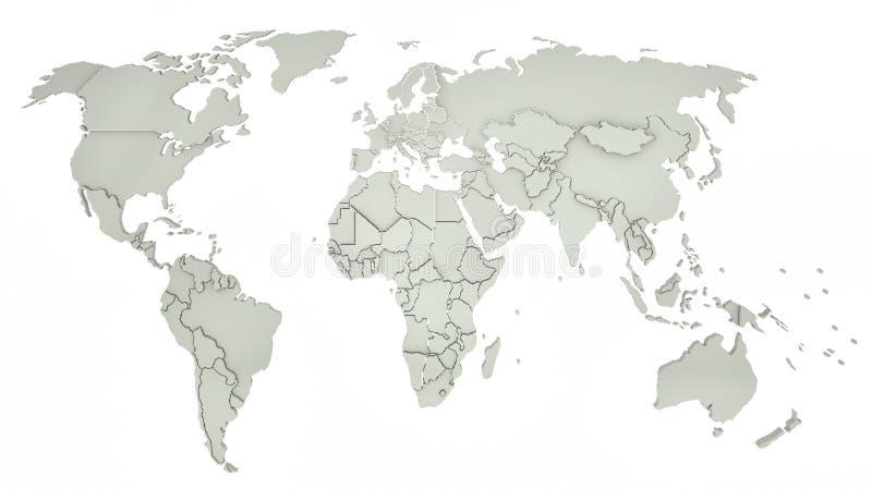 Witte wereldkaart 3D Illustratie stock illustratie