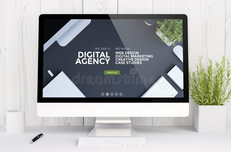 witte werkruimte met computer digitaal agentschap vector illustratie
