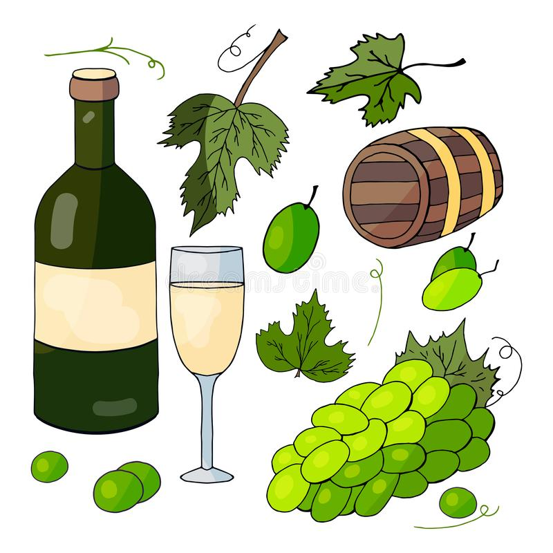 Witte wijn, een bos van druiven en druivenbladeren stock illustratie