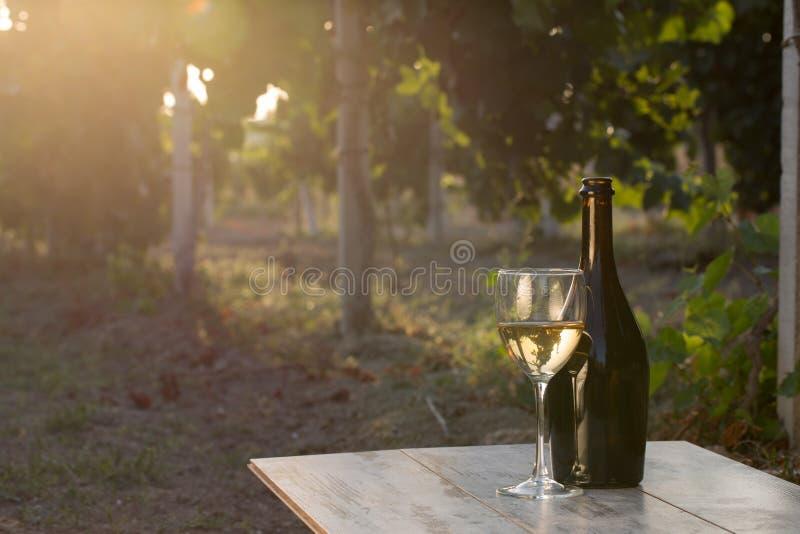Witte wijnfles royalty-vrije stock afbeelding
