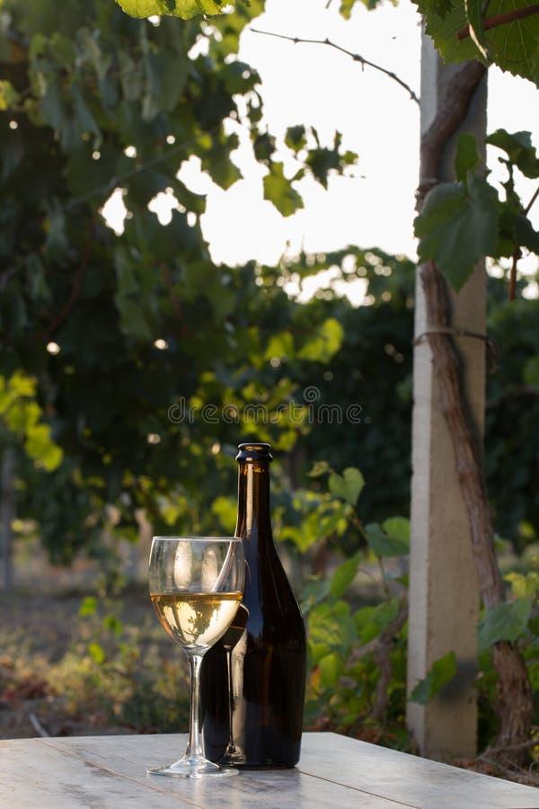 Witte wijnfles stock afbeelding