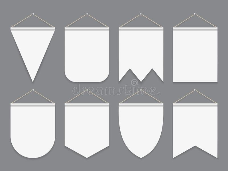 Witte wimpel Hangende lege stoffenvlaggen Adverterende canvas openluchtbanners Wimpels vectormodel vector illustratie