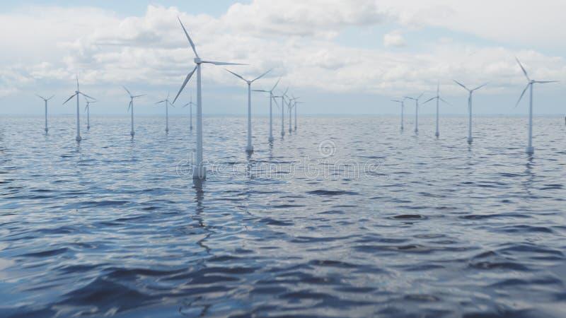 Witte windturbine die elektriciteit in overzees, oceaan produceren Schone energie, windenergie, ecologisch concept, 3d illustrati royalty-vrije stock fotografie