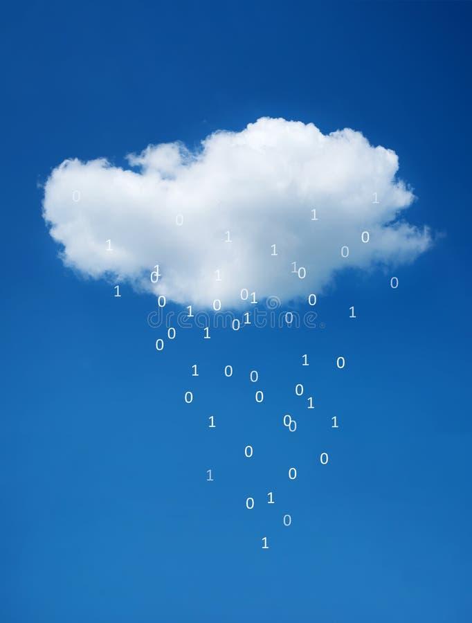 Witte wolk op blauwe hemel Het concept wolkentechnologieën royalty-vrije stock afbeelding