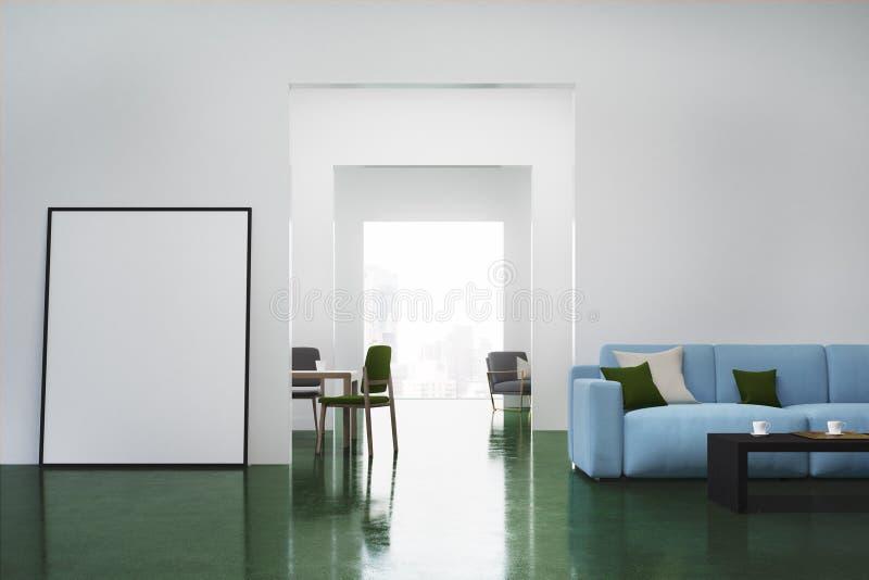 Witte woonkamer, bank stock afbeelding