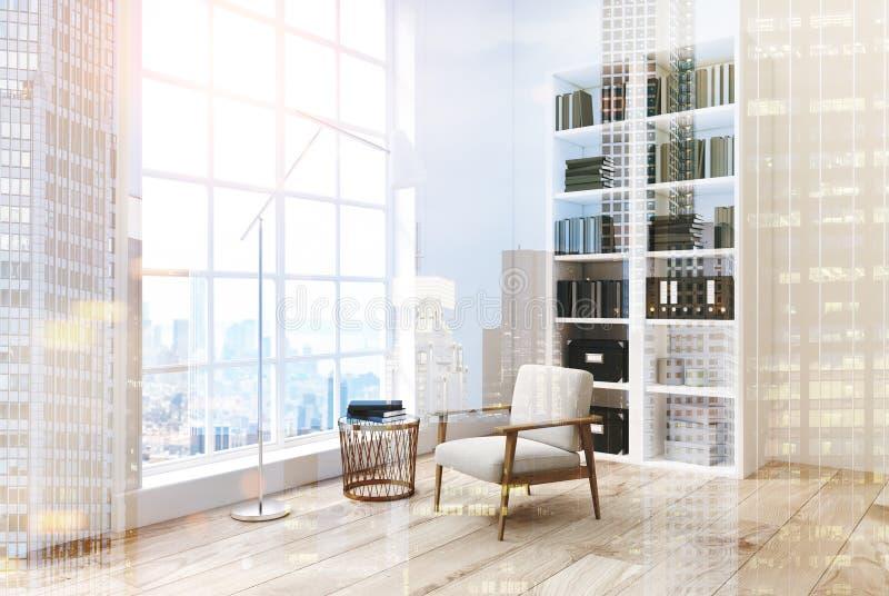 Witte woonkamer met een boekenkast, gestemd zijaanzicht royalty-vrije illustratie