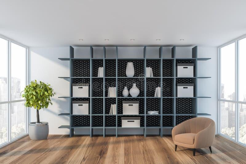 Witte woonkamer met leunstoel en boekenkast stock illustratie