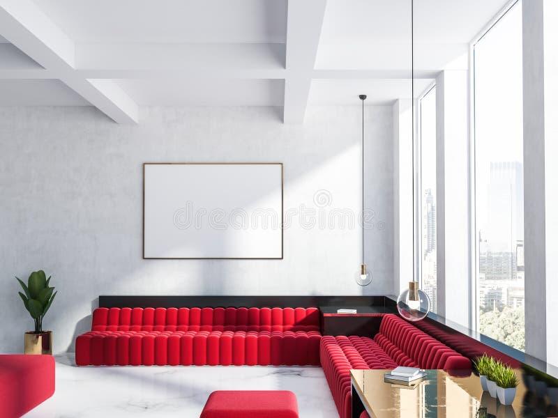 Witte woonkamer, rode bank en affiche royalty-vrije illustratie