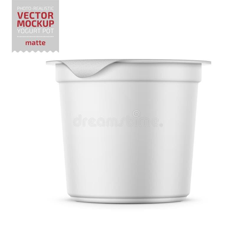 Witte yoghurtpot met het model van de foliedekking royalty-vrije illustratie