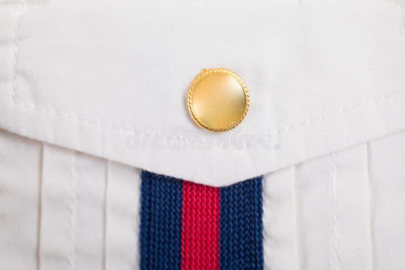 Witte zak met gouden kleurenknoop royalty-vrije stock afbeelding
