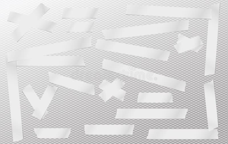 Witte zelfklevend, kleverig, het maskeren, buisband, document strokenstukken voor tekst op grijze geregelde achtergrond vector illustratie