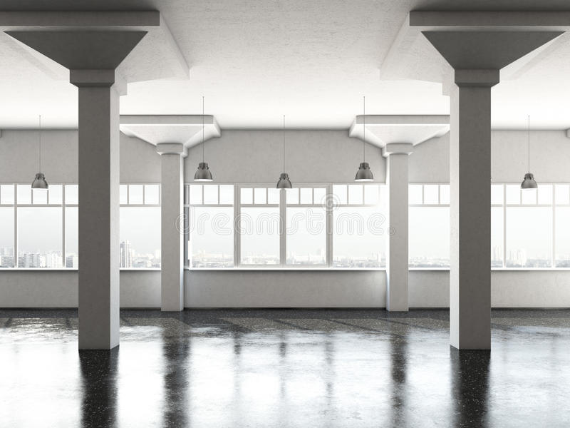 Witte zolderruimte met kolommen royalty-vrije illustratie