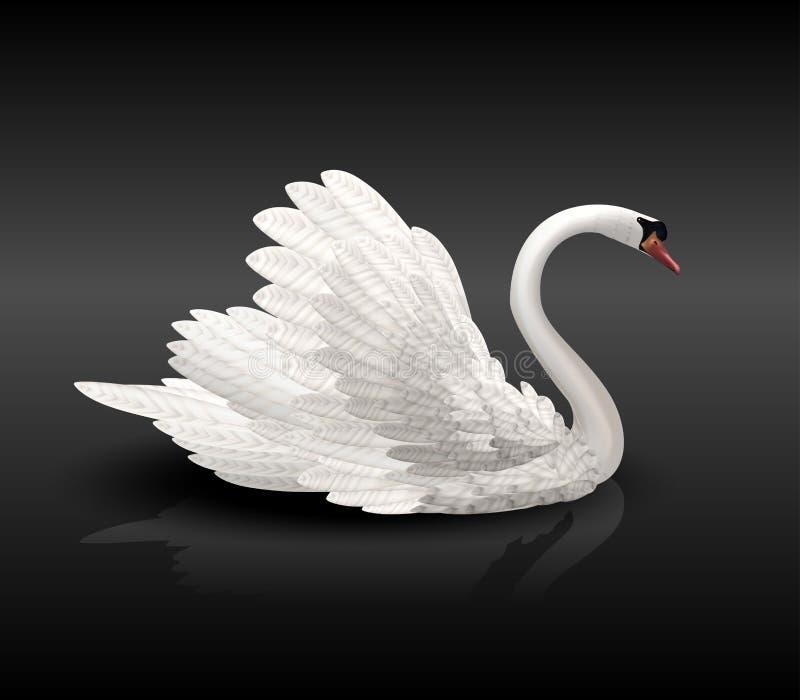 Witte zwaan op zwart water stock illustratie