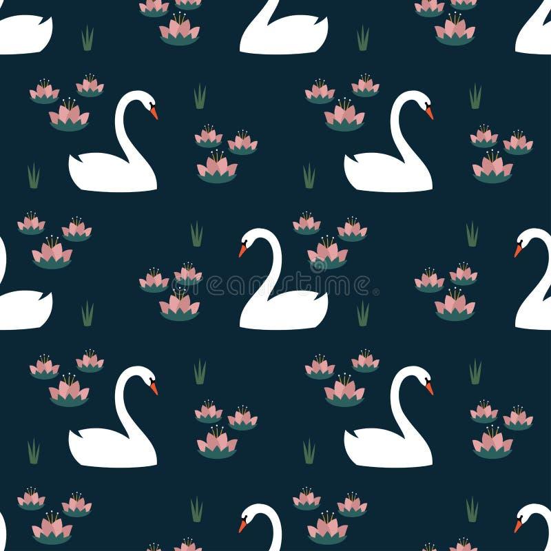 Witte zwanen en waterlelie in naadloos patroon op donkerblauwe achtergrond stock illustratie