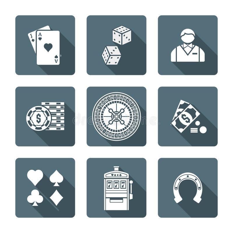 Witte zwart-wit diverse het gokken pictogrammeninzameling royalty-vrije illustratie