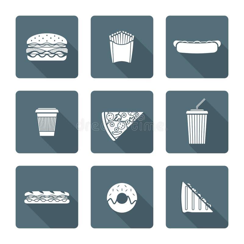 Witte zwart-wit diverse inzameling van snel voedselpictogrammen stock illustratie