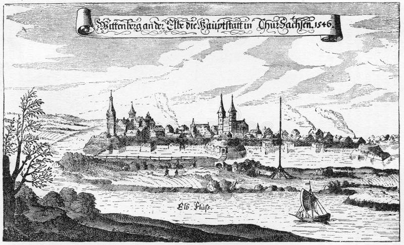 Wittenberg 1546. City of Wittenberg in 1546, from an engraving published in Life of Luther by Julius Kostlin, 1900