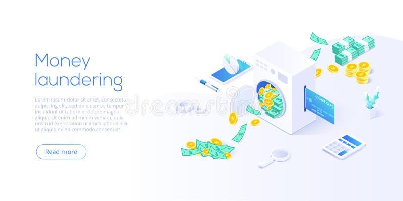 Witwassen van geld isometrische vectorillustratie Corruptie en onwettige bedrijfsconceptenachtergrond met het document van de mac stock illustratie