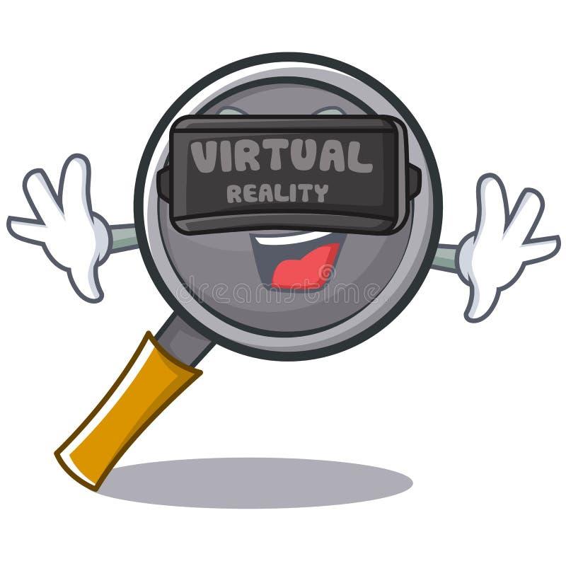 Wityh virtual reality frying pan cartoon character. Vector illustration stock illustration