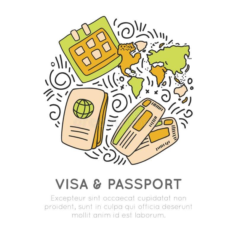 Wiza i paszport podróżna ikona ustawiająca w ręka remisu cartooning stylu Wektorowi doodle dokument podróżny, bilet ikony z ilustracji