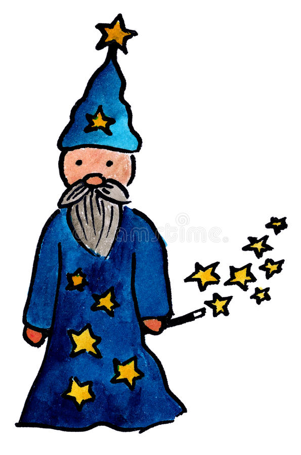 Wizard. Hand painted old wizard stars and a magic wand and pointed hat royalty free illustration