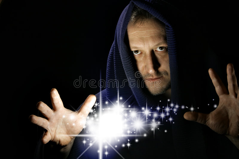 Wizard. Witg glowing stars between your hand