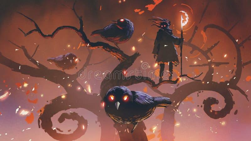 Wizard of the black birds. Standing on an odd trees, digital art style, illustration painting stock illustration