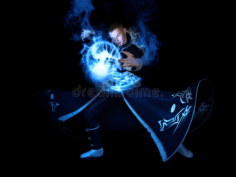 Wizard cast's spell royalty free stock image
