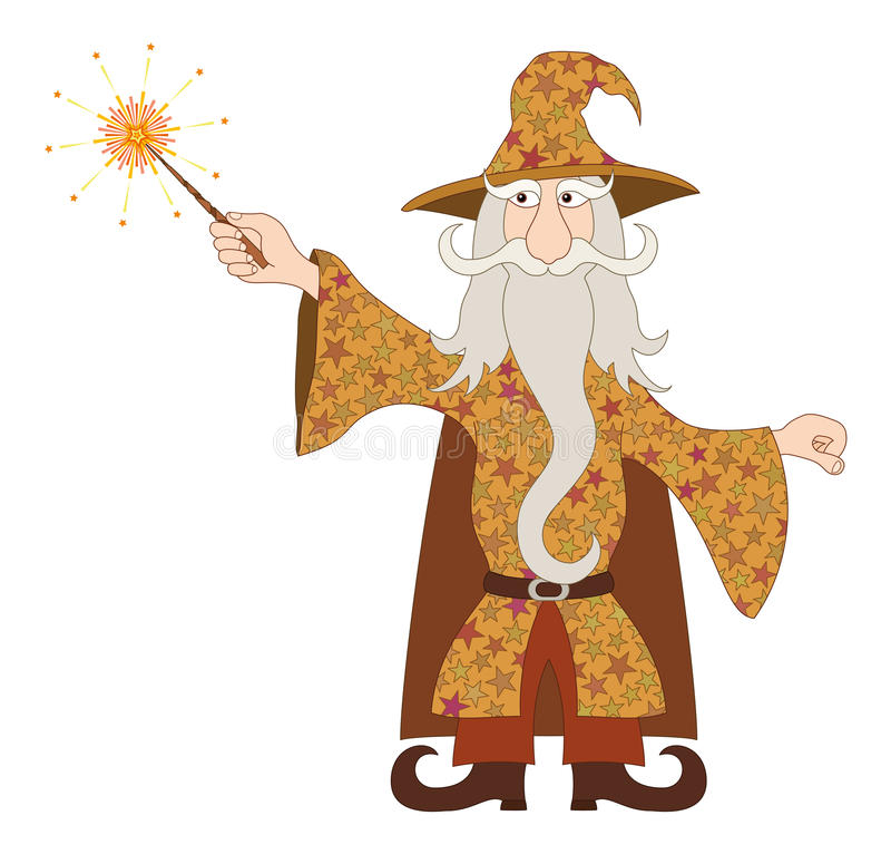 Download Wizard Casting Spell With Magic Wand Stock Vector - Illustration of magician, history: 30816163
