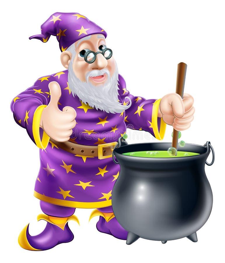 Wizard and cauldron royalty free illustration