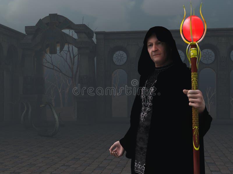 Wizard in evil surroundings vector illustration