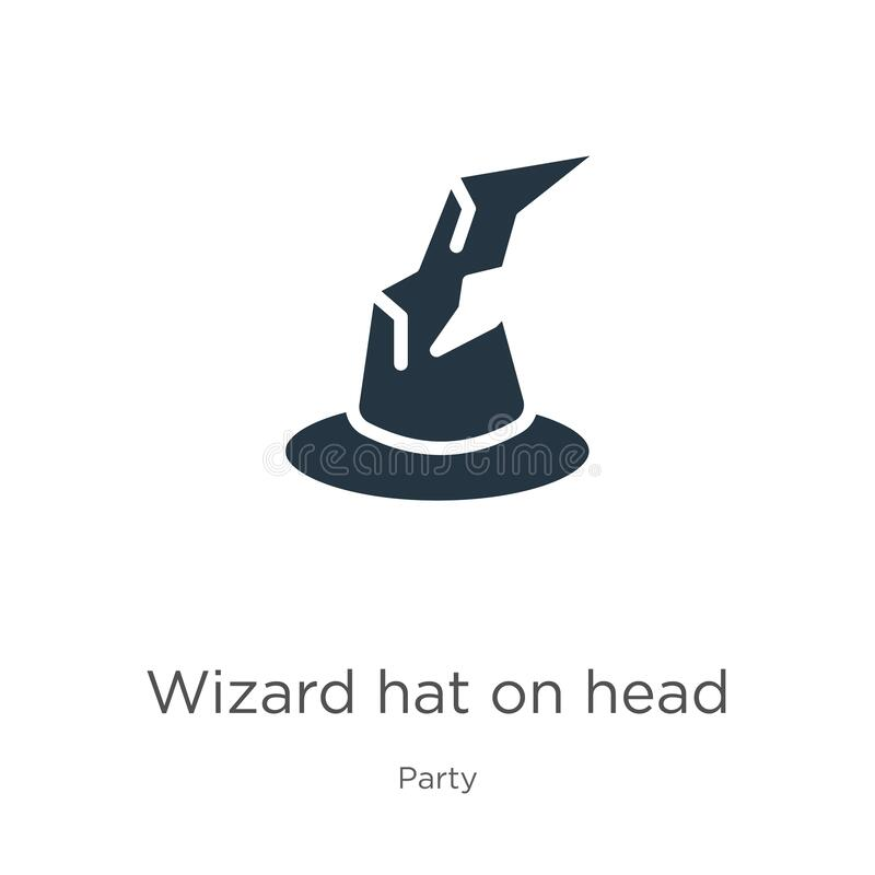 Flat Modern Colored Logo Collection: Wizard Hat On Head Outline Vector Icon. Thin Line Black